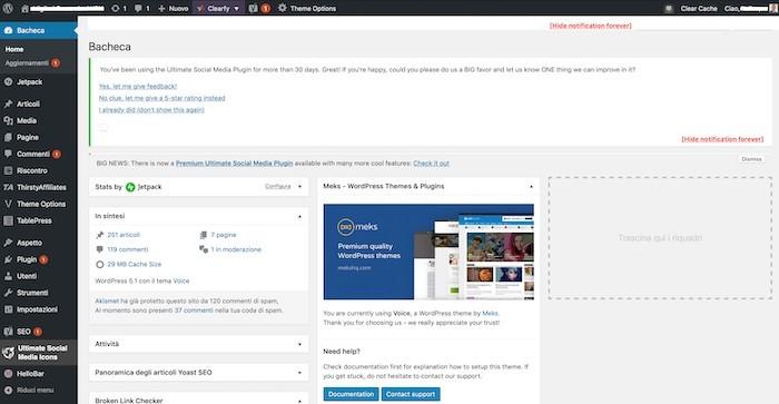Dashboard o bacheca di WordPress