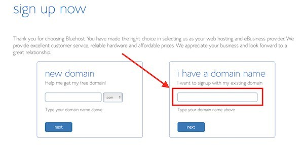 Register domain with Bluehost