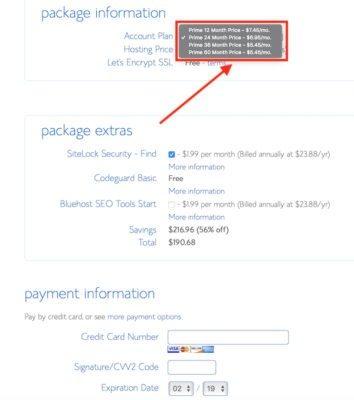 Bluehost piani e pagamento