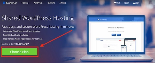 Bluehost web hosting to create a website from scratch