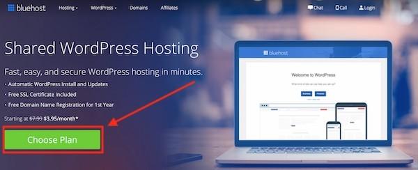 Bluehost web hosting per creare un sito web