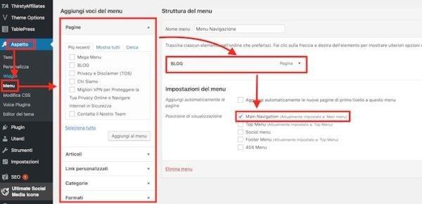 Come impostare il menu di WordPress