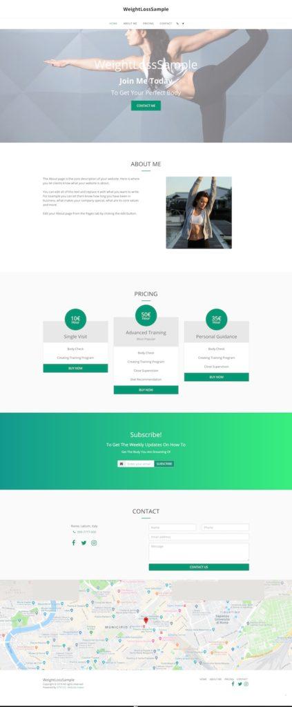 Esempio di sito web creato con il design assistant