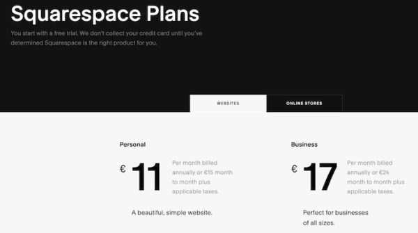 website builder Squarespace plans and pricing