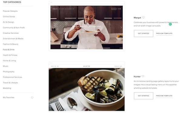 Squarespace template selection is impressive
