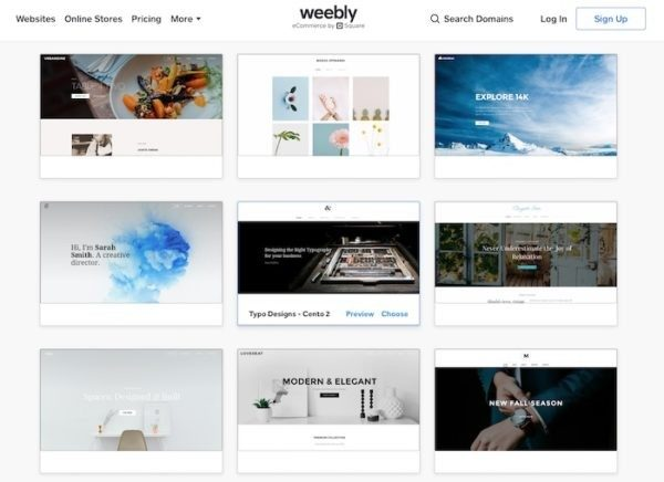 Weebly templates selection