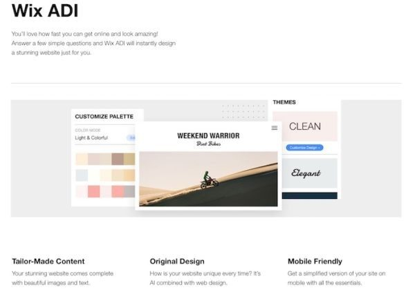 Wix ADI to build website from scratch