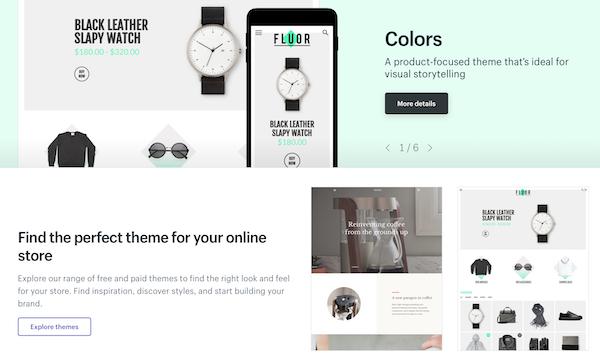 Shopify consente di scegliere tra tantissimi templates