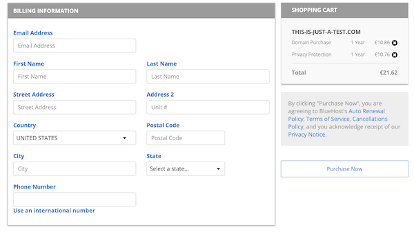 Bluehost checkout page