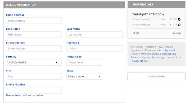 Bluehost pagina checkout