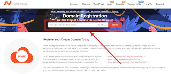 Ricerca di un dominio su Namecheap