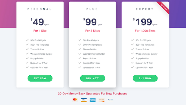 Elemento pricing best WordPress Page Builder