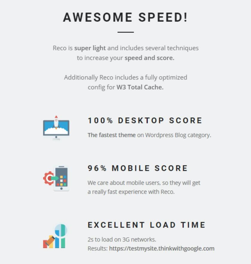 Il tema WordPress Reco è molto leggero e ottimizzato per la SEO