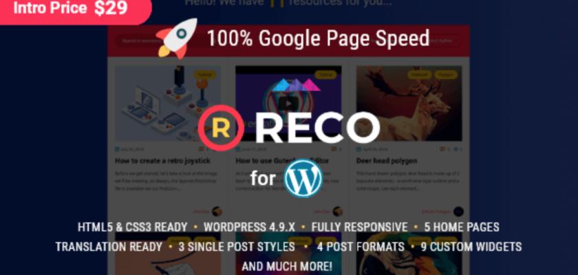 Reco WordPress Theme Review