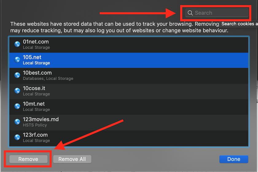Per risolvere err_too_many_errors cancella i cookies da Safari