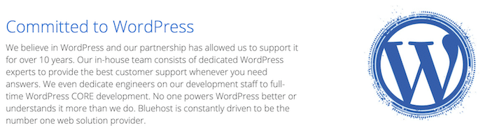 Bluehost is recommended hosting by WordPress