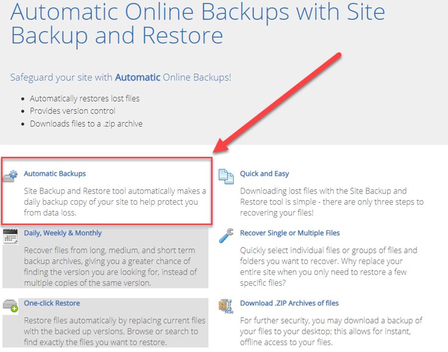 Backup Features Comparison
