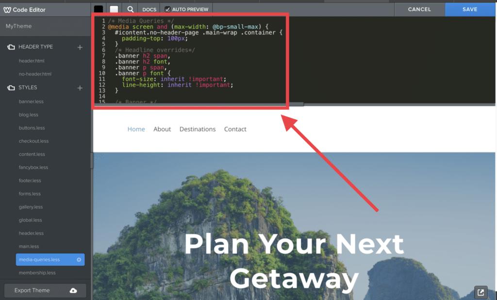 Weebly Code editor