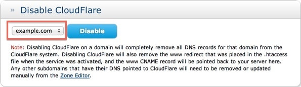 How to use cPanel to disable Cloudflare