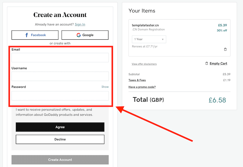 How to create an account with GoDaddy