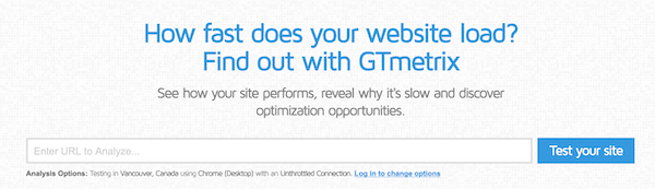 GTmetrix to measure website speed