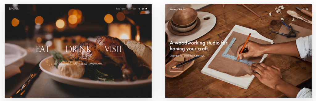 Squarespace has a large selection of templates